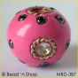 50pc Pink Bead Studded with Wire-bordered Rhinestones & Seed Beads