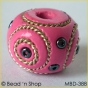 50pc Pink Bead Studded with Double Wire-bordered Seed Beads