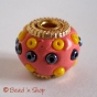 50pc Pink Bead Studded with Golden Rings & Seed Beads