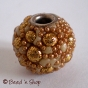 50pc Bead Studded with Golden Color Grains