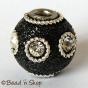 50pc Black Glitter Bead Studded with Wire Rings & Rhinestones