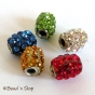 50pc Cylindrical Bead Studded with Rhinestones