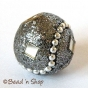 50pc Gray Glitter Bead Studded with Mirror Chips