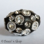 50pc Black Bead Studded with White Rings & Rhinestones