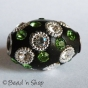 50pcBlack Bead Studded with White Rings & Rhinestones