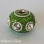 50pc Green Glitter Euro Style Bead with White Rhinestones & Metal Rings