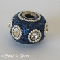 50pc Blue Glitter Euro Style Bead with White Rhinestones & Metal Rings