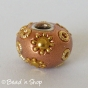 50pc Shinning Brown Pandora Bead Studded with Golden Flowers & Accessories
