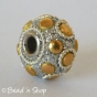 50pc Silver Glitters Pandora Beads with Golden Round Cabochons
