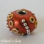 50pc Shinning Brown Pandora Bead Studded with Metal Chains & Golden Rings
