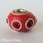 50pc Red Euro Style Bead Studded with Red Rhinestones and Metal Rings