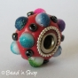 50pc Red Pandora Bead Studded with Seed Beads and Multi-color Cabochons