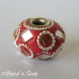 50pc Red Pandora Bead Studded with Faceted Glass Chips & Metal Rings