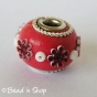 50pc Red Pandora Bead Studded with Flower and Seed Beads