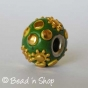 50pc Green Euro Style Bead Studded with Golden Cabochons and Flowers