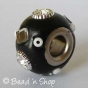 50pc Black Pandora Bead Studded with Glass Chips, Seed Beads & Rhinestones
