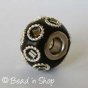 50pc Black Pandora Bead Studded with Glass Chips & Metal Rings