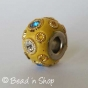 50pc Yellow Pandora Bead Studded with Rhinestones and Golden Metal Rings