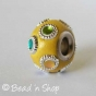 50pc Yellow Pandora Bead Studded with Multi-color Cabochons & Metal Rings