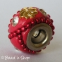 50pc Red Pandora Bead with Red Ball Chains & Rhinestones