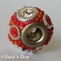 50pc Red Pandora Bead with Red Grains and Rhinestones