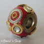 50pc Red Pandora Bead with Golden & Silver Rings