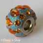 50pc Glittering Euro Style Bead with Orange Rhinestones & Cabochons