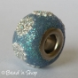 50pc Glittering Euro Style Bead with Silver Flower