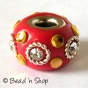 50pc Red Euro Style Bead with Rhinestones & Accessories