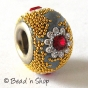 50pc Pandora Bead with Yellow Grains & Red Rhinestones