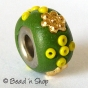 50pc Green Euro Style Bead Studded with Seed Beads & Accessories
