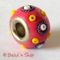 50pc Pink Pandora Bead Studded with Seed Beads