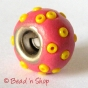 50pc Pink Pandora Bead Studded Yellow Seed Beads