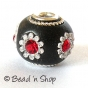50pc Black Bead Studded with Red Rhinestones & Accessories