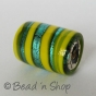 100 Gram. Green  Yellow  Color Silver Foil Cylindrical Fancy Glass Beads